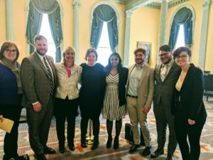 MassEquality staff poses with other advocates in State House while lobbying for Gender X Marker bill.