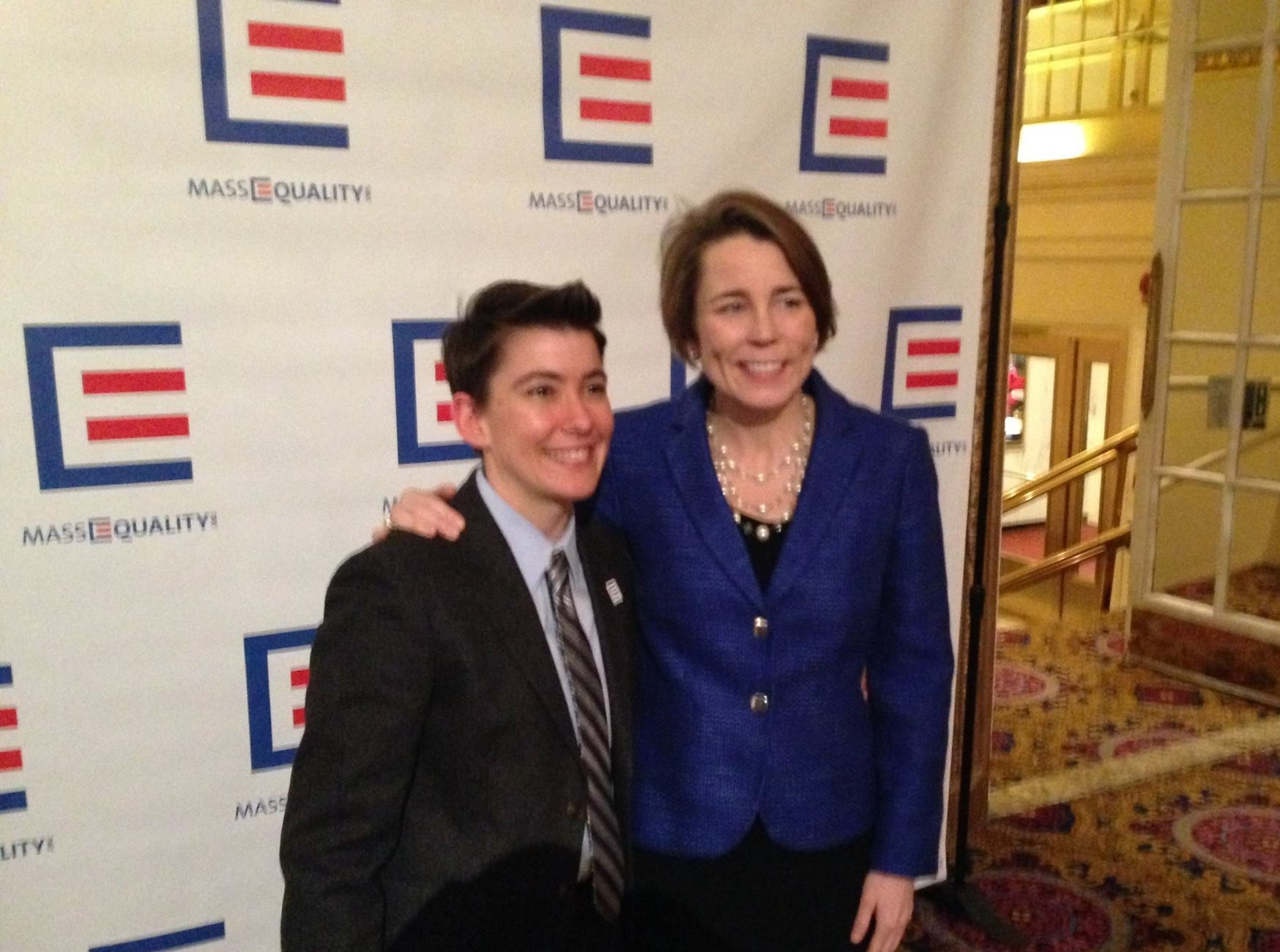 Maura Healey with MassEquality ED Kasey Suffredini at Icons Gala